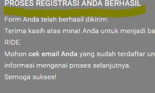 Proes registrasi gojek anda telah berhasil