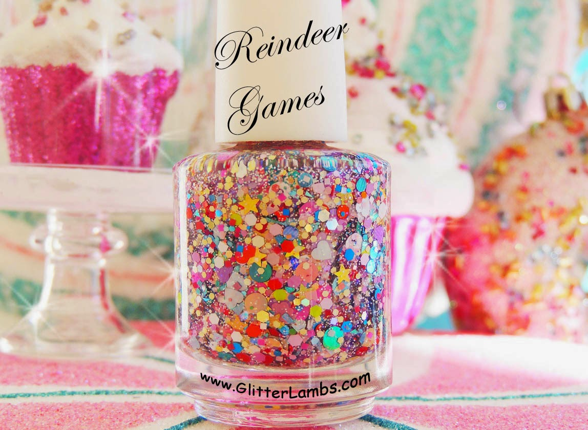 Christmas custom handmade indie lacquer glitter topper nail polishes for the holiday season. Glitter shapes like hearts, stars, flowers, circles, dots, squares, holographic, iridescent glitters.