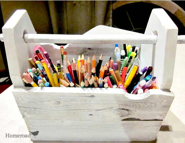 crate filled with school supplies