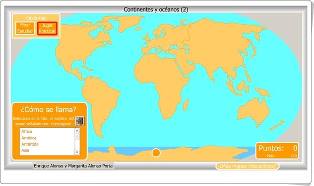 """""""Continentes y océanos 2"""" (Juego de Ciencias Sociales de Primaria)"""