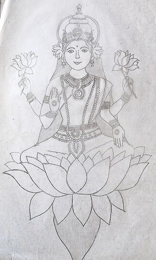 Pencil Sketch of Goddess Lakshmi
