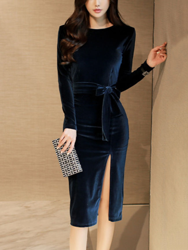 Round Neck High Slit Plain Velvet Bodycon Dress