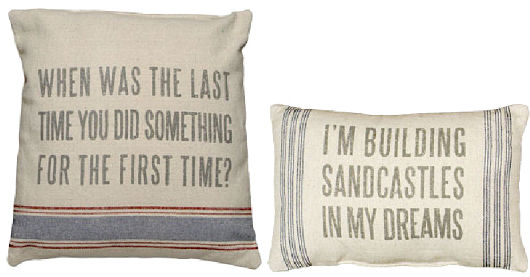 The Beach House - Beach Decor, Coastal & Nautical Decorating ... - Words And Quotes Pillow Designs