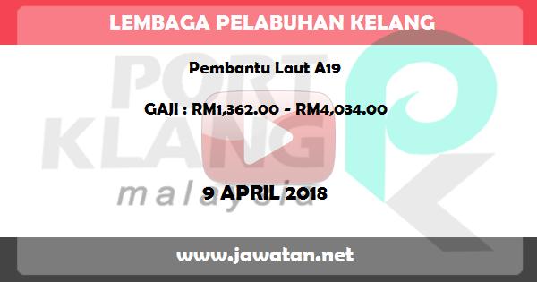Job in Lembaga Pelabuhan Kelang (9 April 2018)