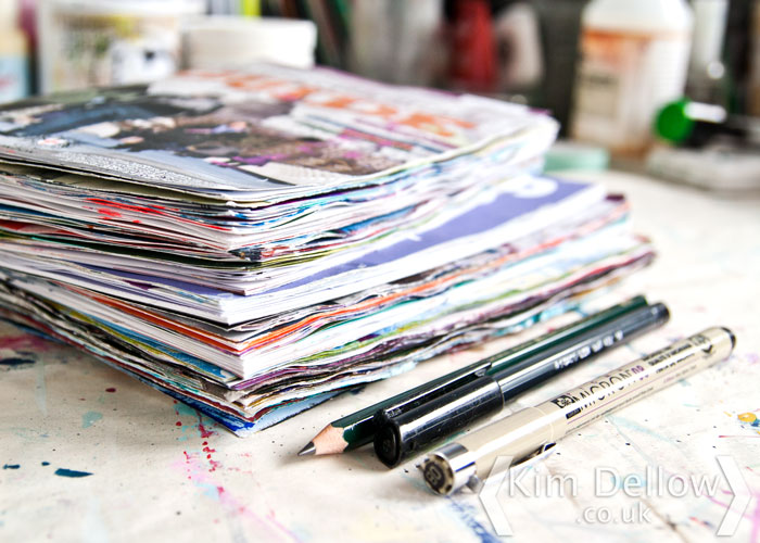 Kim Dellow a pile of my current Junk Journals