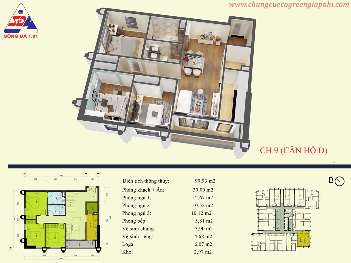 Thiết kế căn hộ 09 eco green tower