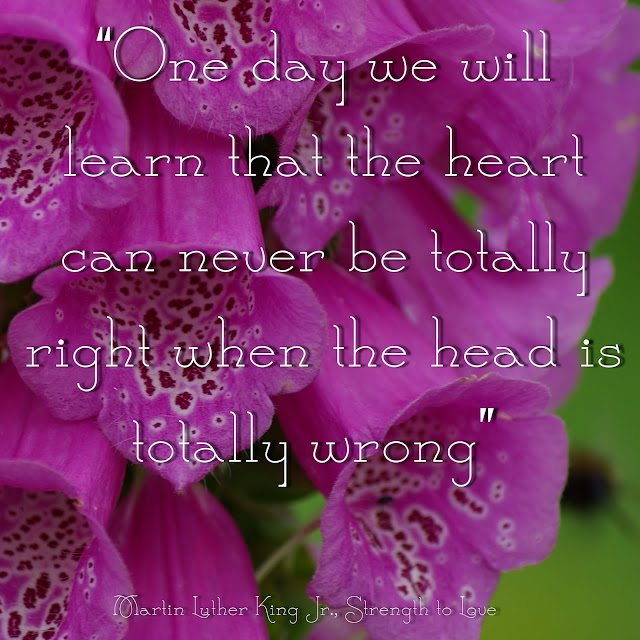 One day we will learn that the heart can never be totally right when the head is totally wrong. - Martin Luther King Jr.