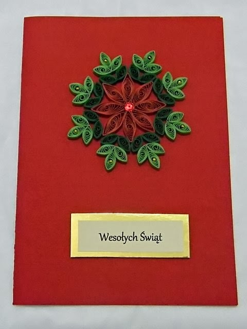 ozdoby, quilling, Boże Narodzenie, kartka świąteczna