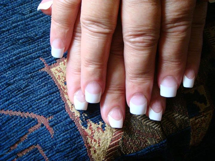 Classic Pink And White French White Tip Square Shape Nails