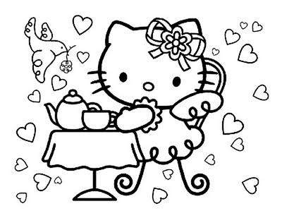 Hello Kitty Tea Party Coloring Pages Com Planse Colorat Desene