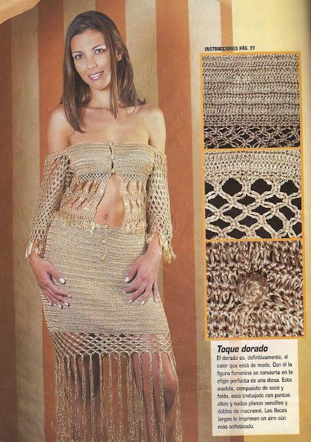 Patrón #1107: Conjunto Dorado a Crochet