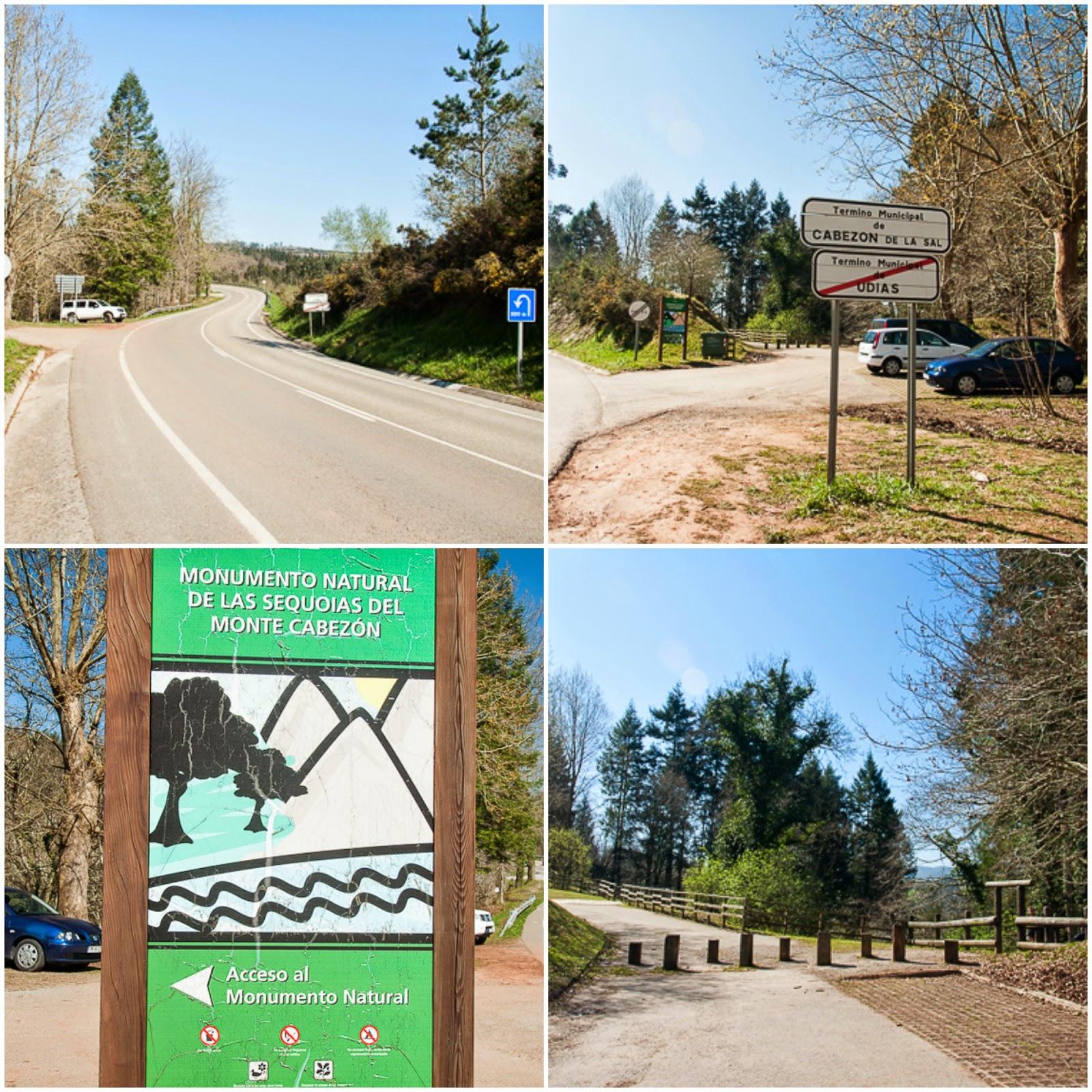 Acceso al parque de secuoyas de Cabezon de la sal en Cantabria