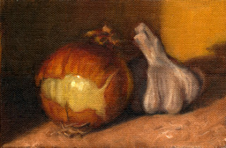 Oil painting of a brown onion with peeling skin, beside a garlic bulb.