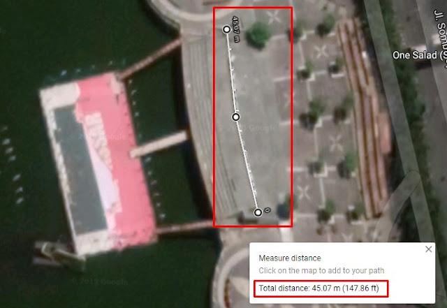 mengukur panjang tulisan city of makassar dengan google maps