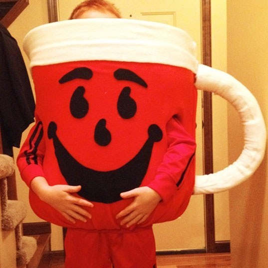 Kool-Aid Man costume consists of a hula hoop,bed foam and felt