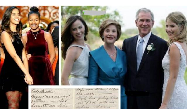 رسالة سرّية من ابنتيّ بوش إلى ابنتي أوباما وهذا هو نصها أسرار لا يفهمها إلا سكّان البيت الأبيض