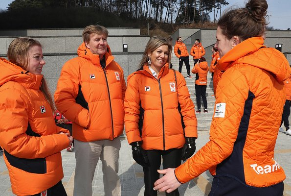 King Willem-Alexander and Queen Maxima visited Gangneung Olympic Village in Pyeongchang-gun. 2018 Winter Olympics in Pyeongchang