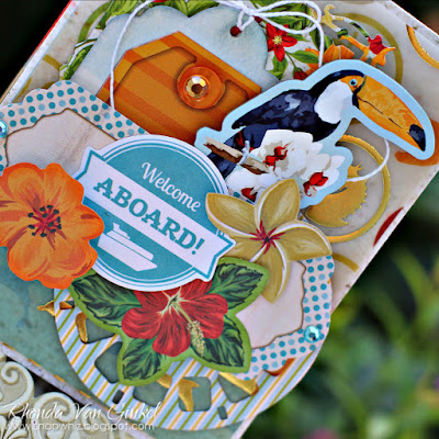 Welcome Aboard card featuring Beach Therapy collection by BoBunny designed by Rhonda Van Ginkel