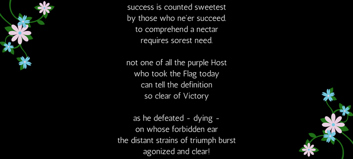 Emily Dickinson's 112 (67) Success is counted sweetest (text)