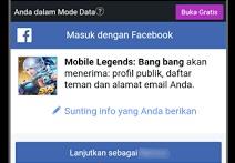 Cara membuat akun baru mobile legend menggunakan Facebook