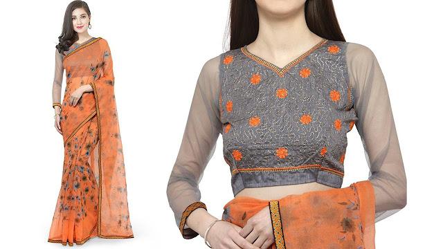 Divastri Self Design Fashion Net Saree  (Orange)