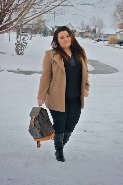 natalie craig, plus size fashion blogger, plus size fashion, kim kardashian, kim kardashian tan coat, tan coat, kimye, kanye west, north west, yeezus, winter fashion, thrift store find