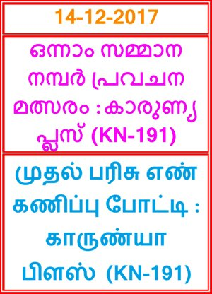 Kerala lottery First Prize Guessing competition KARUNYA PLUS KN-191