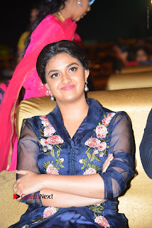 Actress Keerthi Suresh Stills in Blue Long Dress at Nenu Local Audio Launch  0027.JPG