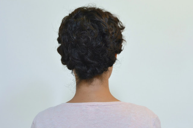 short curly hairstyle, faux updo