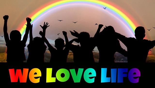 Children Shadows Showing Enthusiasm, Rainbow: We Love Life Chant