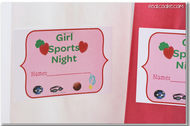 Paper bag with girl sports night printable stapled to front