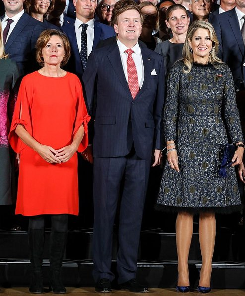 Queen Maxima wore Natan Dress from Natan Couture FW17 Collection. Palatinate's prime minister Malu Dreyer and her husband Klaus Jensen