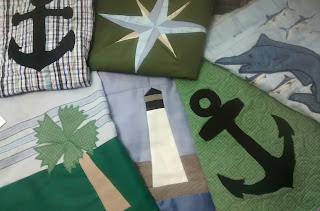 ProsperityStuff Blocks for Nautical Quilt: Anchors, Lighthouse, Palm Tree, Mariner's Compass, Swordfish