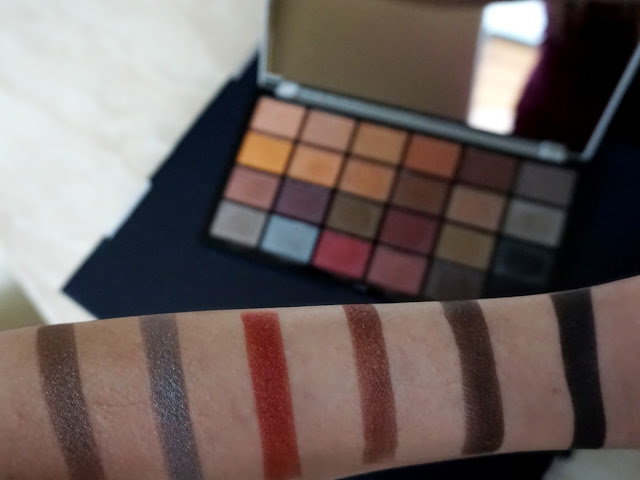 fourth row swatches in natural light Life on the dancefloor Afterparty palette by makeup revolution