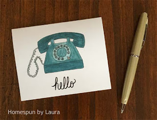 homespun by laura, watercolor, vintage rotary phone, vintage, rotary phone, turquoise phone, turquoise, notecard, hello, stationery