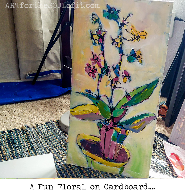 a fun floral orchid work in progress original painting by joanie springer