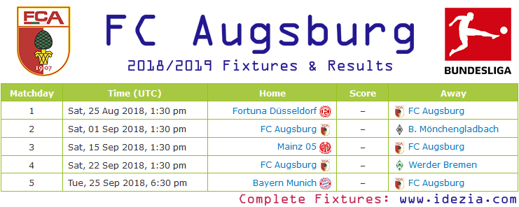 Baixar calendário completo PNG JPG FC Augsburg 2018-2019