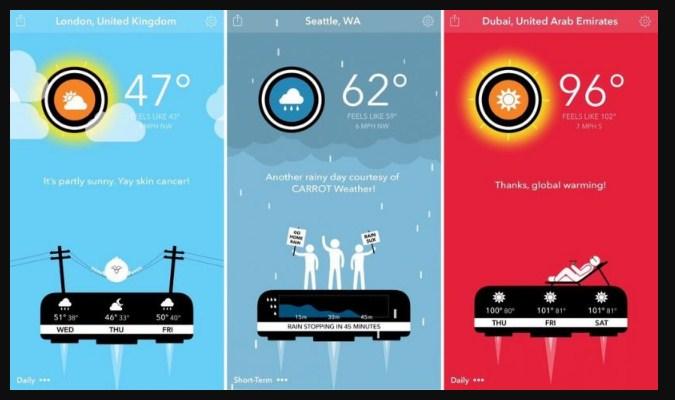 Widget Prakiraan Cuaca iPhone - Carrot Weather