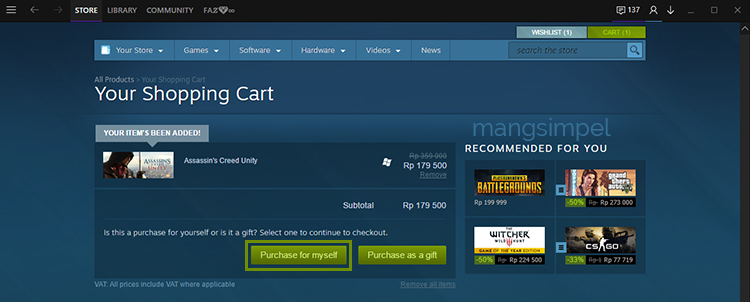 Cara Membeli Game Berbayar di Steam