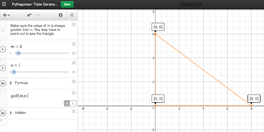 Using @Desmos to generate pythagorean triples