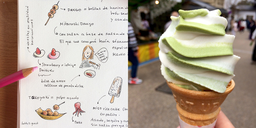 Food in Kyoto Japan Travel journal by betitusquest / Matcha and vanilla ice-cream