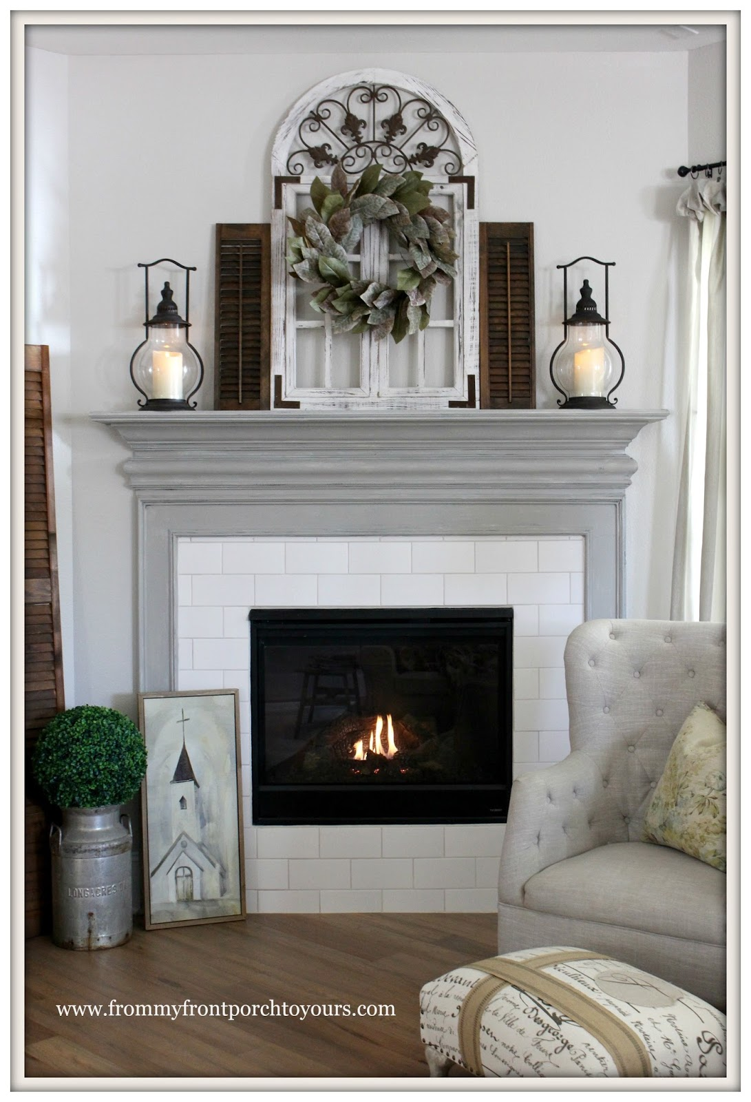 from my front porch to yours farmhouse fireplace mantel makeover