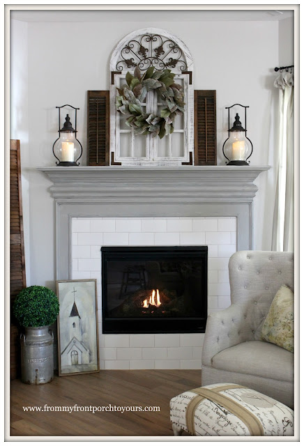 Farmhouse Fireplace-Painted Fireplace Mantel-Sherwin Williams-Dorian Gray-From My Front Porch To Yours