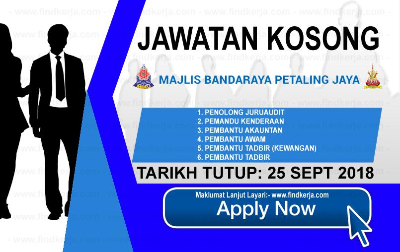 Jawatan Kerja Kosong MBPJ - Majlis Bandaraya Petaling Jaya logo www.ohjob.info www.findkerja.com september 2018