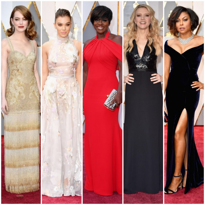 bbloggers, bbloggersca, canadian beauty bloggers, fbloggers, fashion, style, celebrities, red carpet, 2017 oscars, awards show, best dressed, emma stone, hailee steinfeld, viola davis, kate mckinnon, taraji p. henson, designers, dresses