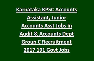 Karnataka KPSC Accounts Assistant, Junior Accounts Asst Jobs in Audit & Accounts Department Group C Recruitment 2017 191 Govt Jobs Online