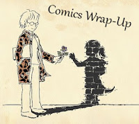 comics wrap-up title image w/ manga-style woman handing her living shadow a flower