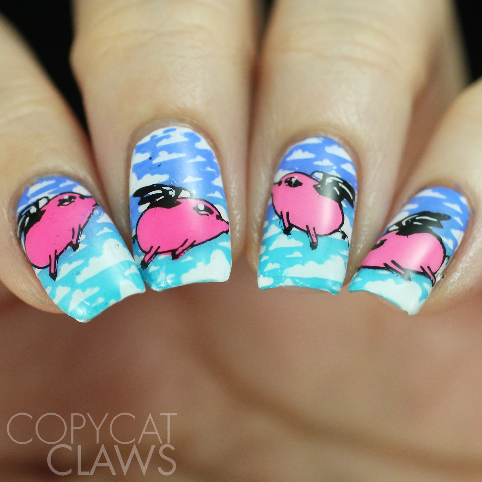 Pig Nail Art: Copycat Claws: The Digit-al Dozen Does Mythical Creatures
