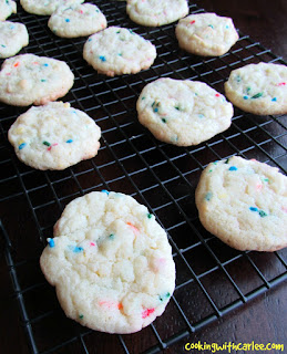 sprinkle cake mix cookies on cooling rack
