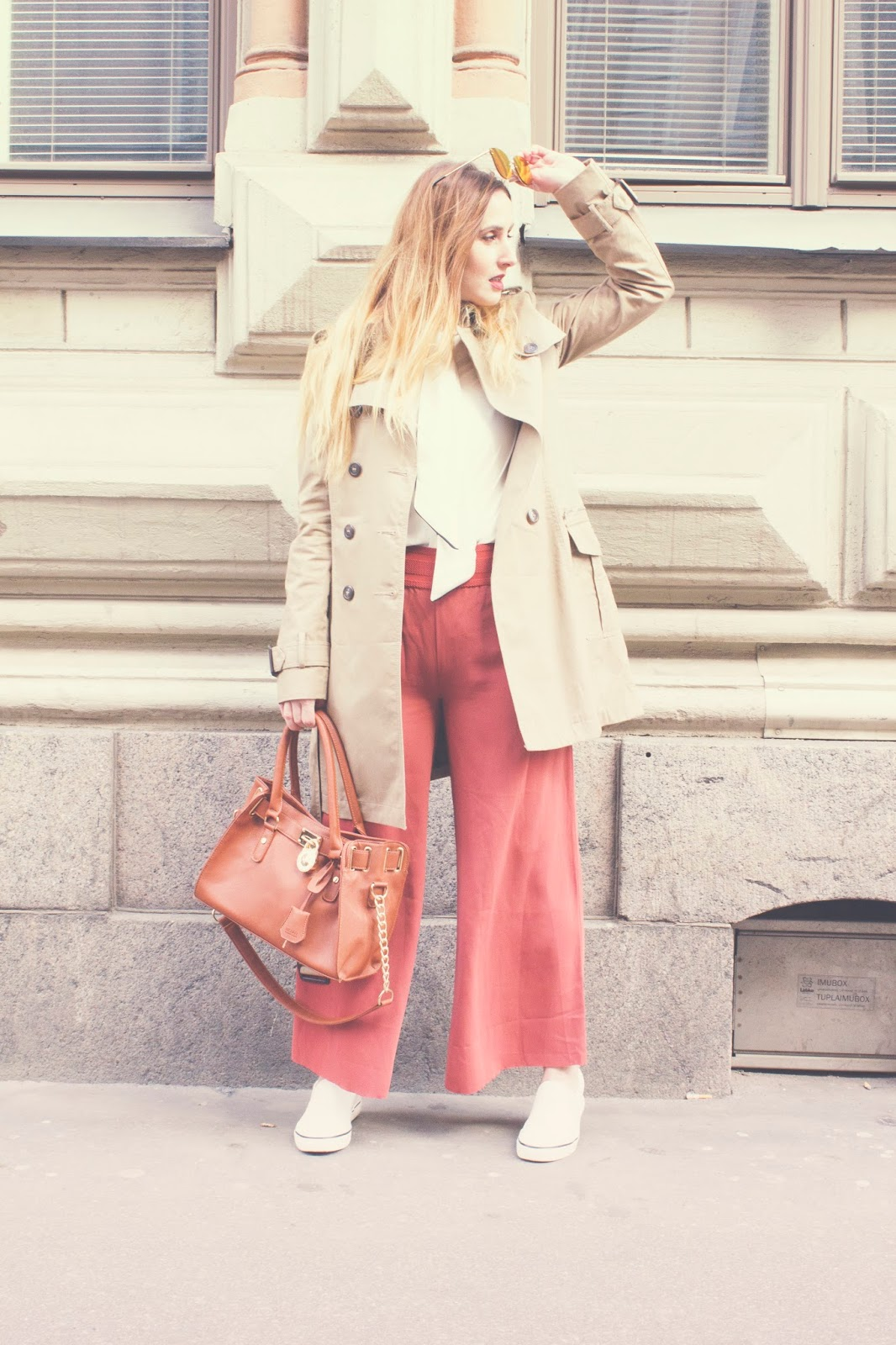 flowy pants, beige trench, white Zara shirt, Michael Kors handbag and whitle loafers outfit